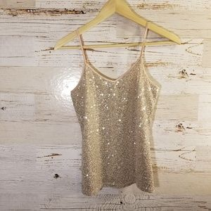 Express sequence sparkle tank top
